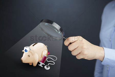 Glossy : Hand presenting medical insurance savings concept