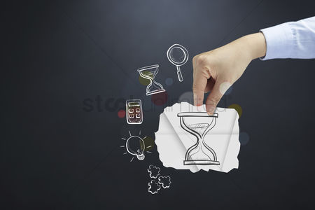 Handdrawn : Hand presenting time management concept