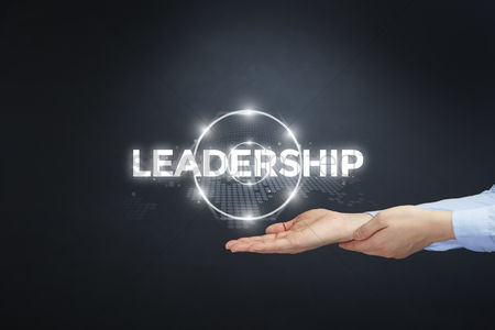 Leadership : Hand showing digital text leadership