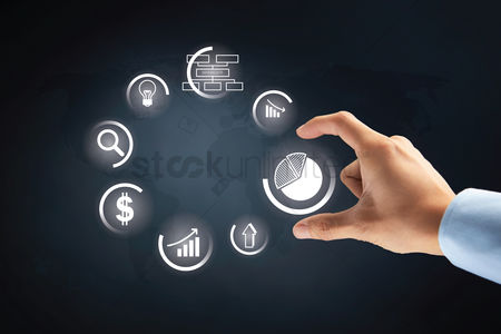 Selection : Hand with business pie chart option on transparent board concept