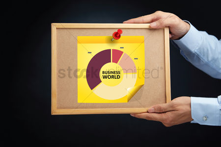 Cork board : Hands holding a board with donut pie chart