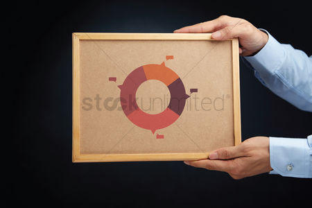 Cork board : Hands holding a board with percentage ring charts
