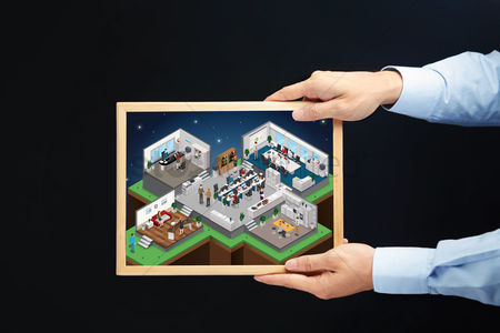 Interior : Hands holding a chalkboard with office isometric concept