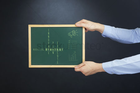 Instruction : Hands holding blackboard with team concept