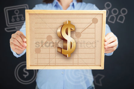 Productivity : Hands presenting dollar currency chart on cork board concept