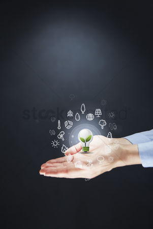 Earth  graphic vector : Hands presenting environmental concept
