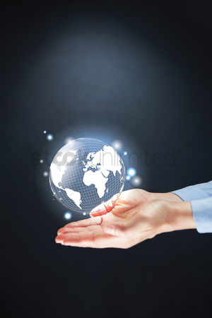 Earth  graphic vector : Hands presenting global business concept