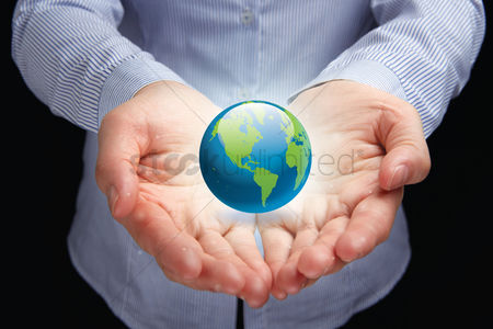 Earth  graphic vector : Hands presenting global concept