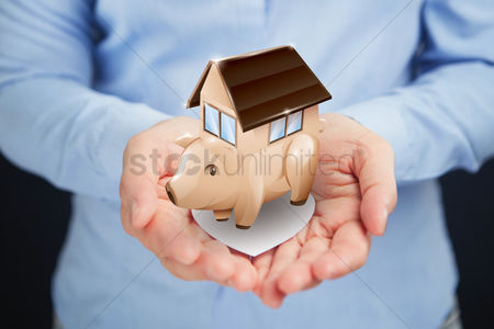 Media : Hands presenting property investment concept