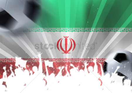 Iran : Iran flag with football supporters