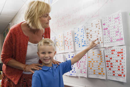 Teacher : Little boy pointing to a calendar date for teacher