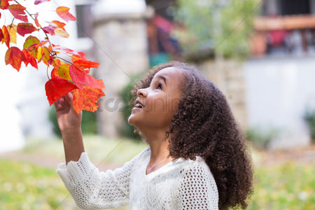 Smile : Little girl looking at autumn leaves