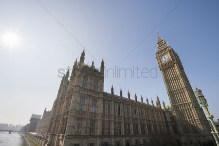 England : Low angle view of big ben and parliament building against clear sky at london  england  uk