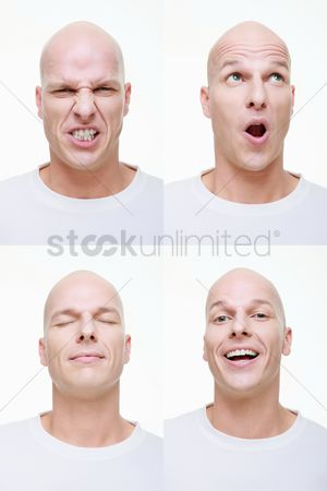 Bald : Man making a series of exaggerated faces for the camera
