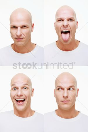 Head shot : Man making a series of exaggerated faces for the camera
