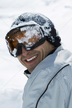 Coldness : Man s head covered by snow
