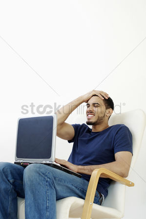 Accessibility : Man using laptop