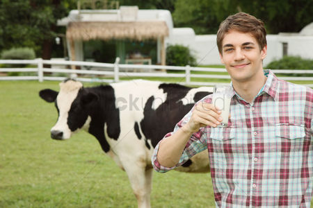 Refreshment : Man with a glass of milk