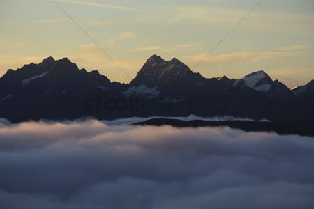No people : Marmolada summit  paraglider with langkofel behind  italy  dolomites