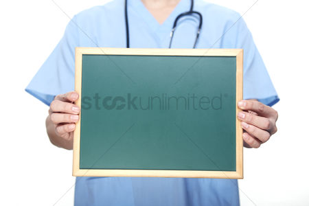 Show : Medical personnel with a blackboard