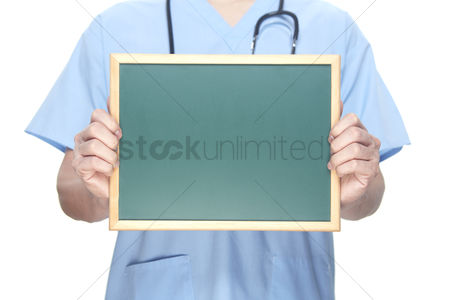 Medical personnel : Medical personnel with a blackboard