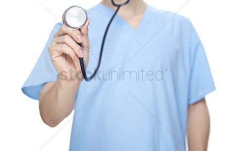Medical personnel : Medical personnel with a stethoscope