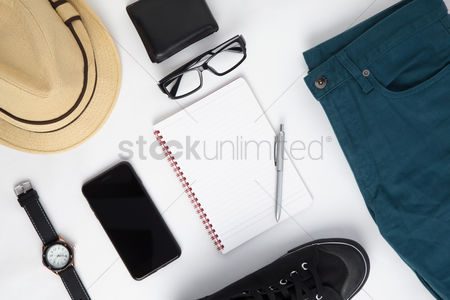 Flat : Men s outfit and accessories on white background
