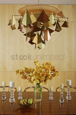 Collection : Metalworked light above centrepiece of cut flowers on table