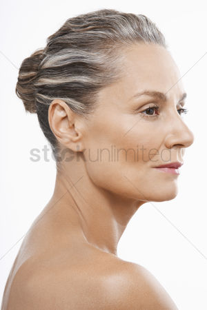 Head shot : Middle-aged woman hair back