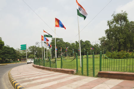 Respect : Mongolian and indian flags on a roundabout  new delhi  india