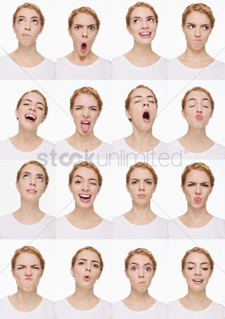 Young woman : Montage of woman pulling different expressions