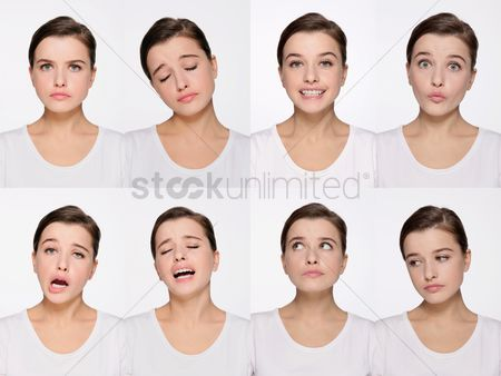 Smiling : Montage of woman pulling different expressions