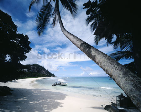 Natural : Motorboat on tropical beach