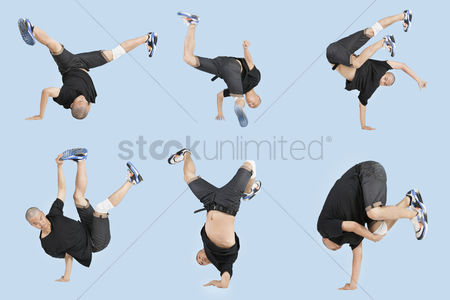 Dancing : Multiple image of young man break dancing over light blue background