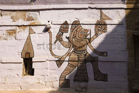 God : Mural of hindu deity lord hanuman on a wall at jaisalmer fort  jaisalmer  rajasthan  india