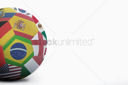 Match : National flags on a soccer ball