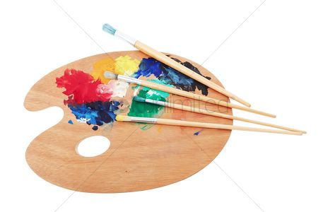 Creativity : Paint brushes and wooden palette