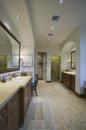Us : Palm springs bathroom with mosaic tiled floor