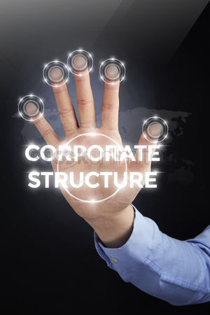 Count : Palm with a digital technology text corporate structure