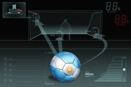 Nationality : Penalty kick infographic with argentina soccer ball