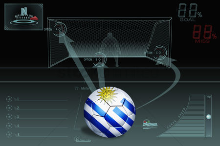 Nationality : Penalty kick infographic with uruguay soccer ball