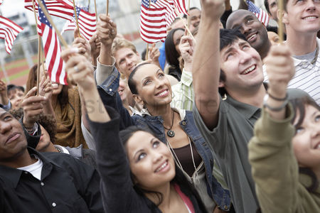 Demonstration : People holding up american flags