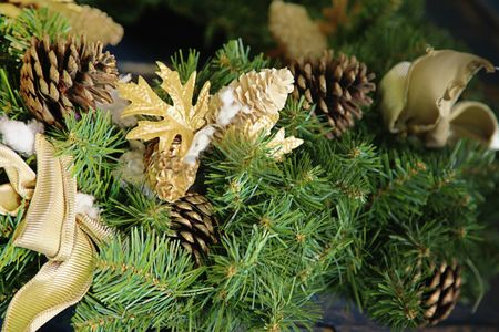 Color image : Pine cones decorating christmas tree