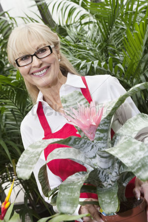 Greenhouse : Portrait of a happy senior woman standing behind flower plant in greenhouse