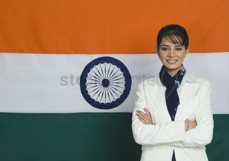 Respect : Portrait of a woman in front of an indian flag