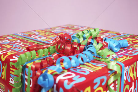 Birthday present : Present wrapped with colourful paper close-up
