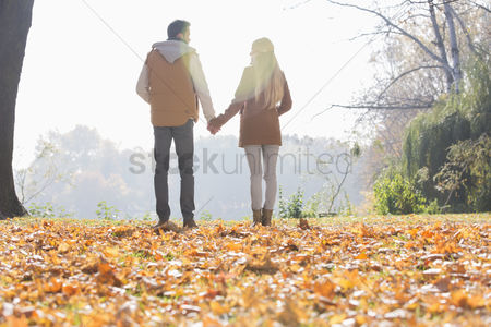 Girlfriend : Rear view of couple holding hands in park during autumn