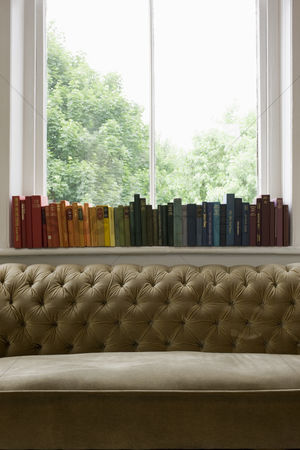 Collection : Row of books on windowsill