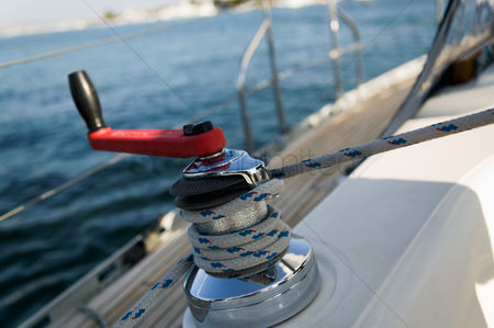 Rope : Sailing winch  close-up