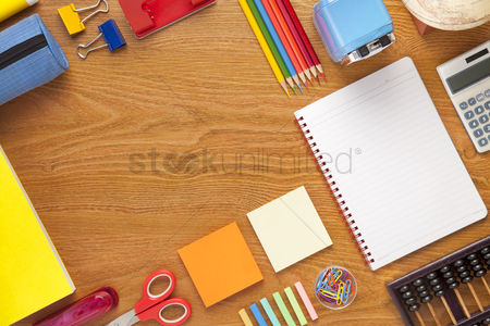 Notebook : School and office supplies on desk background with copy space